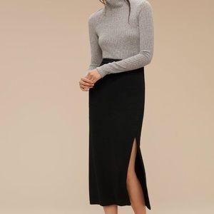 Aritzia Wilfred Free Black Midi Slit  Skirt